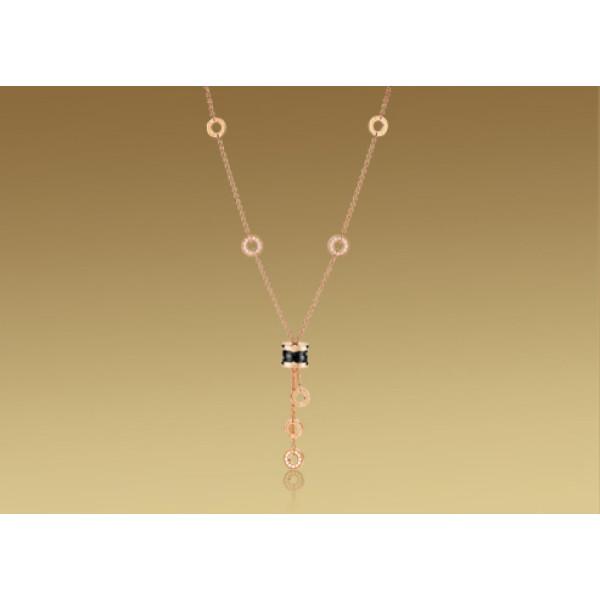 Ожерелье Bulgari B.Zero1, розовое золото, черная керамика, бриллианты