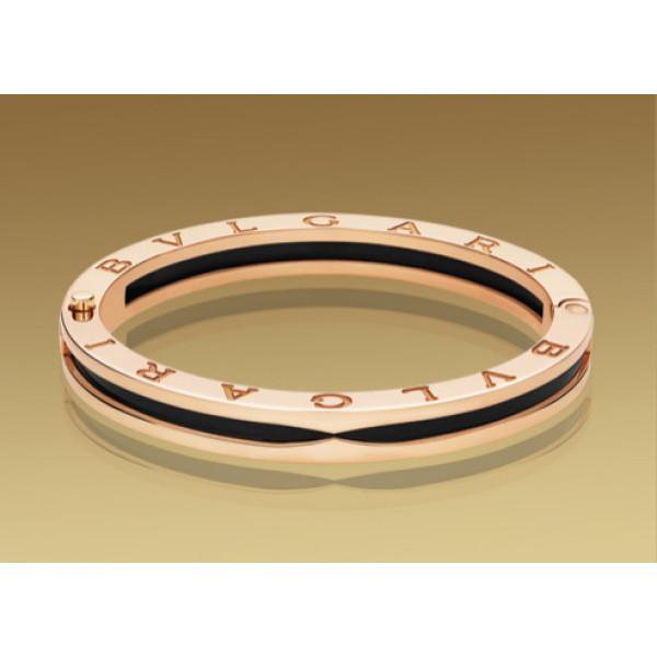 Браслет Bulgari B.Zero1, розовое золото, черная керамика