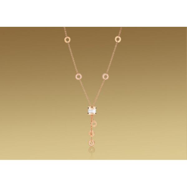 Ожерелье Bulgari B.Zero1, розовое золото, белая керамика, бриллианты