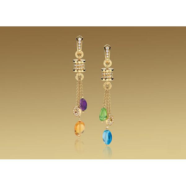 Серьги Bulgari B.Zero1, желтое золото, драгоценные камни