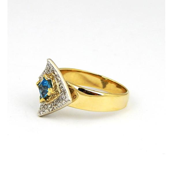 Кольцо, желтое золото 585, топаз, бриллианты