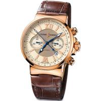 Ulysse Nardin Maxi Marine Chronograph (18kt RG / Ivory / Leather)