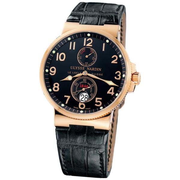 Ulysse Nardin Maxi Marine Chronometer (18kt RG / Black / Leather)