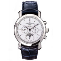 Vacheron Constantin Malte Perpetual Calendar Chronograph (Platinum / Silver / Leather)