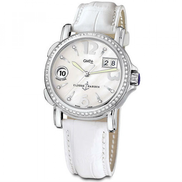 Ulysse Nardin GMT± Big Date Ladies (Leather / White / Diamonds)