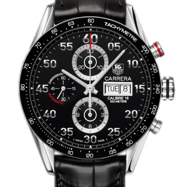Tag Heuer Carrera Automatic Chronograph Day-date (SS / Black / Leather)