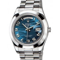 Rolex Day-Date II  President Platinum - Polished Bezel Blue Wave Dial
