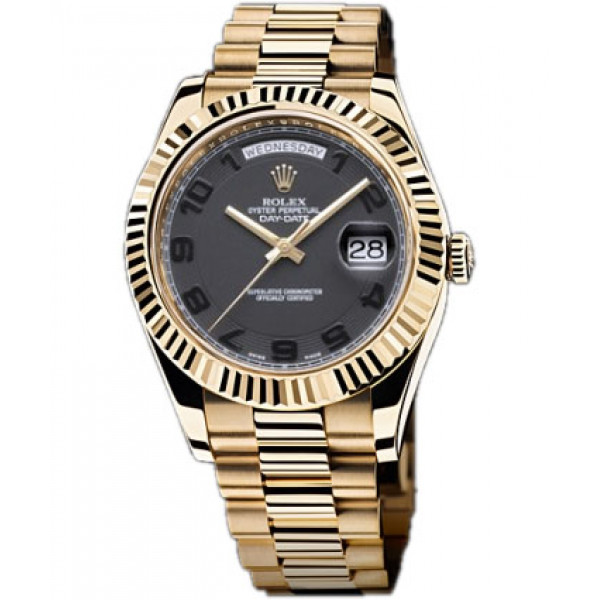Rolex Day-Date II  President Yellow Gold - Fluted Bezel Black Dial