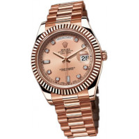 Rolex Day-Date II President Pink Gold - Fluted Bezel Champagne Diamonds Dial