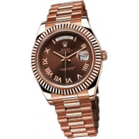 Rolex Day-Date II President Pink Gold - Fluted Bezel Brown Dial