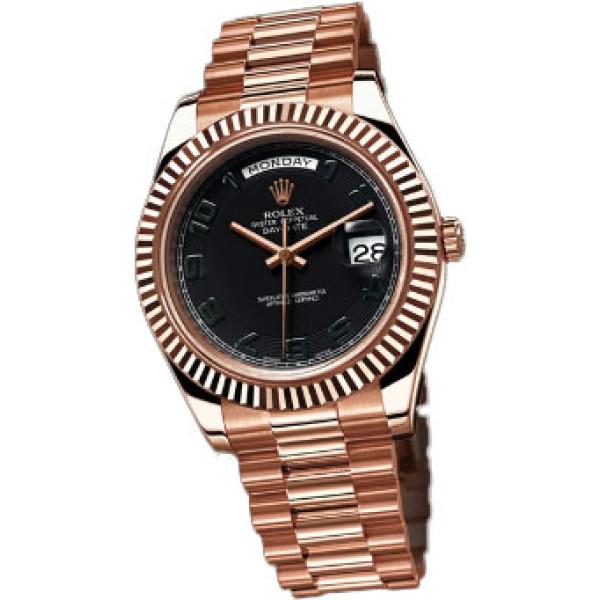 Rolex Day-Date II 41mm President Pink Gold - Fluted Bezel Black Dial