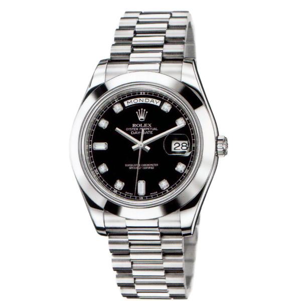 Rolex Day-Date II  President Platinum - Polished Bezel Black Diamond Dial