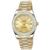 Rolex Day-Date II President Yellow Gold - Diamond Baguette Bezel champagne diamond dial