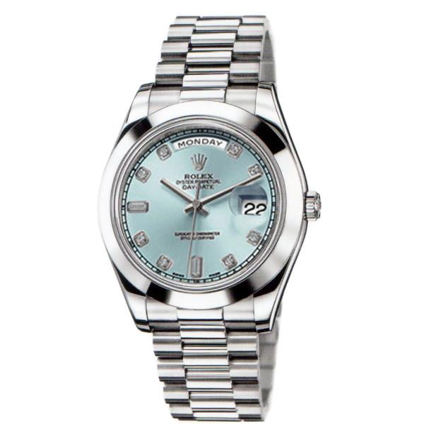Rolex Day-Date II  President Platinum - Polished Bezel Ice Blue Diamond Dial