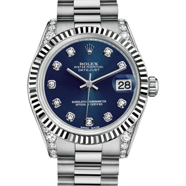 Rolex Datejust 31mm White Gold Diamond Fluted Bezel President