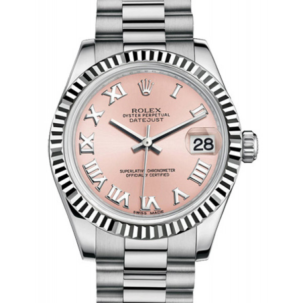 Rolex Datejust 31mm White Gold Fluted Bezel President