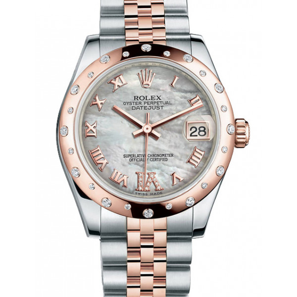 Rolex Datejust 31mm - Steel and Gold Pink Gold - 24 Dia Bezel - Jubilee