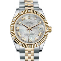 Rolex Datejust 31mm - Steel and Yellow Gold - 12 Diamond Bezel - Jubilee