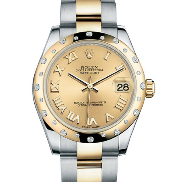 Rolex Datejust 31mm - Steel and Yellow Gold - 24 Diamond Bezel - Oyster