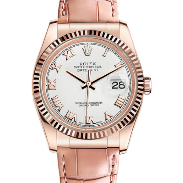 Rolex Datejust 36mm Pink Gold -Fluted Bezel- Leather 2013