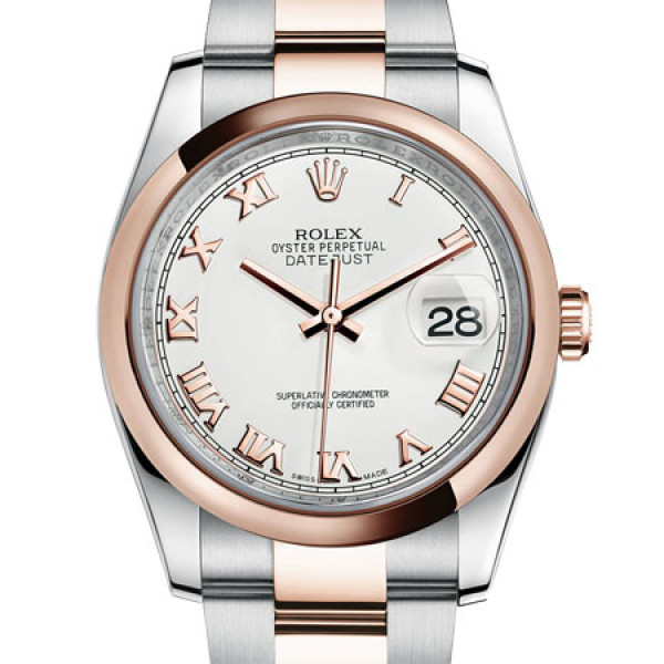Rolex Datejust 36mm - Steel and Gold Pink Gold - Domed Bezel - Oyster