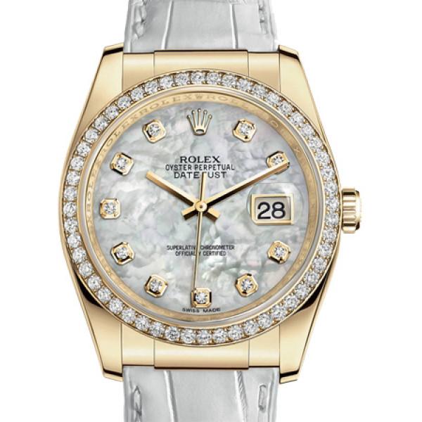Rolex Datejust 36mm Yellow Gold - Diamond Bezel - Leather 2013