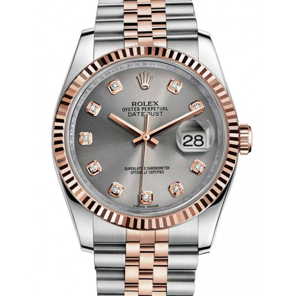 Rolex Datejust 36mm - Steel and Gold Pink Gold - Fluted Bezel - Jubilee