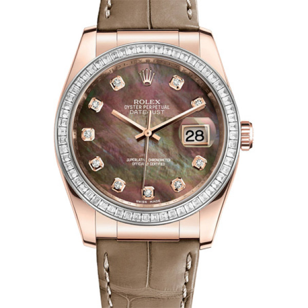 Rolex Datejust 36mm Pink Gold - Diamond Bezel - Leather 2013