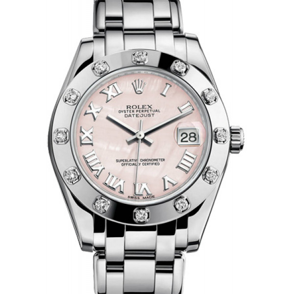 Rolex Datejust 34mm Special Edition White Gold Masterpiece 12 Diamond Bezel