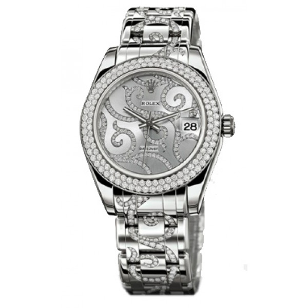 Rolex Datejust 34mm Special Edition White Gold Masterpiece 116 Dia Bezel