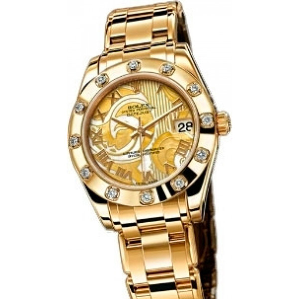 Rolex Datejust 34mm Special Edition Yellow Gold Masterpiece 12 Dia Bezel