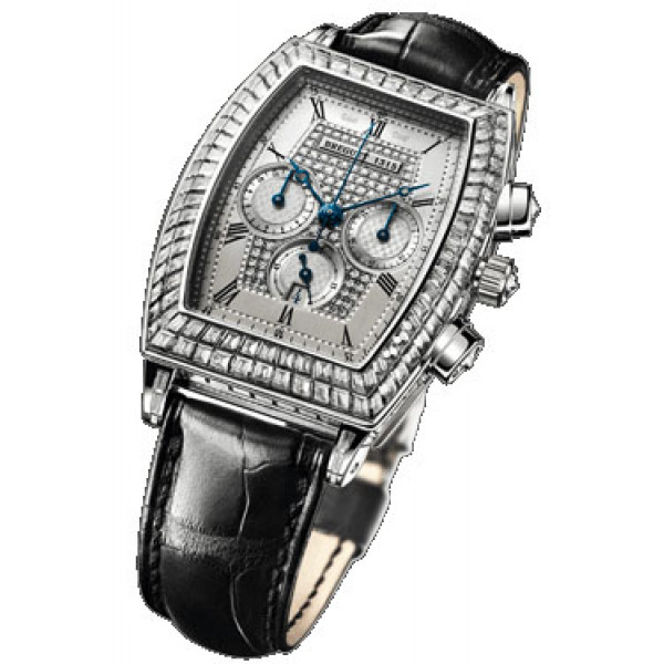 Breguet watches Heritage Chronograph (WG / Silver-Diamonds / Leather)