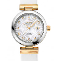 Omega De Ville Ladymatic Steel - yellow gold on white leather strap 2013