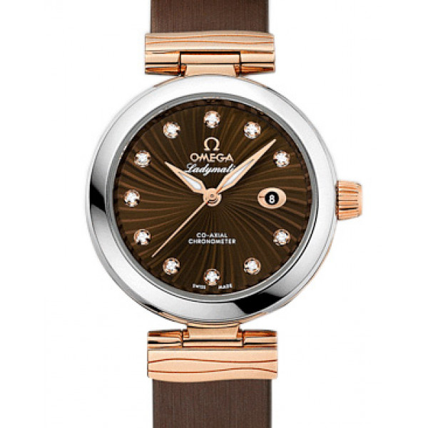 Omega De Ville Ladymatic Steel - red gold on brown leather strap 2013