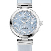 Omega Ladymatic Steel on steel blue pearl dial Leather strap  2013
