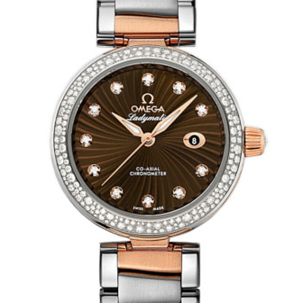 Omega De Ville Ladymatic Steel - red gold on Steel Brown Dial- Diamond 2013