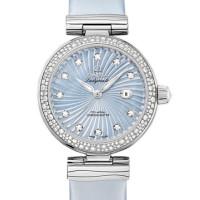 Omega Ladymatic Steel on steel Diamond blue pearl dial Leather strap  2013