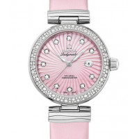 Omega Ladymatic Steel on steel Diamond pink dial on pink leather strap 2013