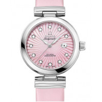 Omega Ladymatic Steel on steel pink mother-of-pearl dial on pink leather strap 2013