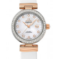 Omega De Ville Ladymatic Steel - red gold on white  leather strap - Diamond 2013