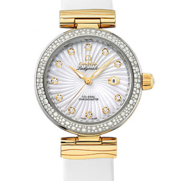 Omega De Ville Ladymatic Steel - yellow gold on white  leather strap - Diamond 2013