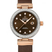 Omega De Ville Ladymatic Steel - red gold on brown leather strap - Diamond 2013