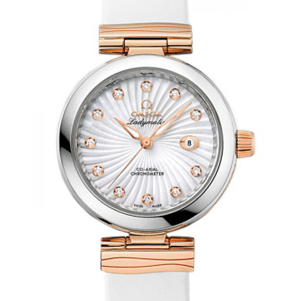 Omega De Ville Ladymatic Steel - red gold on white leather strap 2013