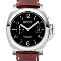 Officine Panerai Marine Automatic (SS / Black / Brown Leather)