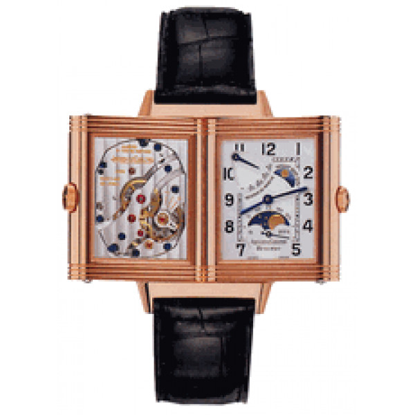 Jaeger LeCoultre : Reverso Sun Moon (RG / Silver / Leather)