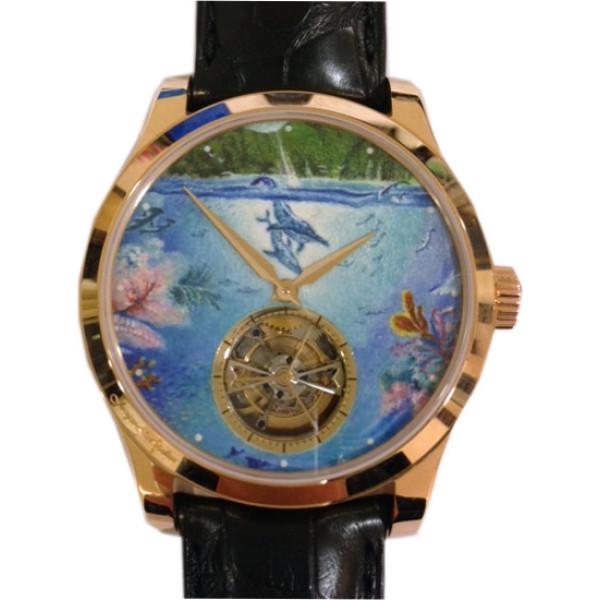 Jaeger LeCoultre Master Grand Tourbillion pink gold Enamel dial