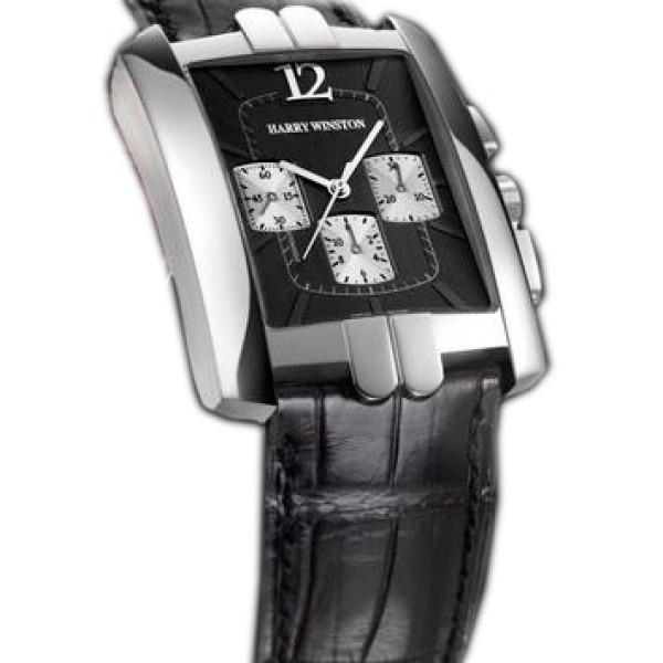 Harry Winston Avenue C Chrono (WG / Black / Leather)