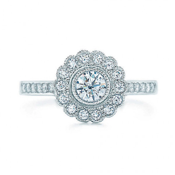 Кольцо Tiffany & Co белое золото 750, бриллианты