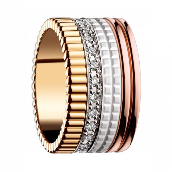 Кольцо Boucheron Quatre, белое, розовое и желтое золото, керамика, бриллианты