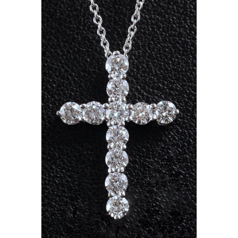 Крестик Tiffany, белое золото, бриллианты 1.1ct